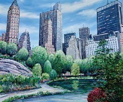 A Stroll in Central Park by Phillip Bissell -  sized 47x39 inches. Available from Whitewall Galleries